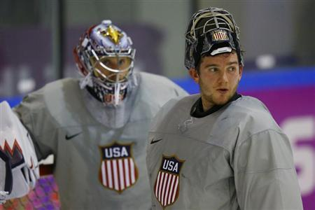 men's hockey team goaltenders Jimmy Howard (L) and Jonathan Quick