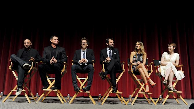 """(L-R) Executive producer/director Marcos Siega, creator/executive producer Kevin Williamson and actors Kevin Bacon, James Purefoy, Natalie Zea and Valorie Curry participate in FOX's """"The Following"""" finale screening panel at the Academy of Television Arts & Sciences' Leonard H. Goldenson Theater on Monday, April 29, 2013 in North Hollywood, California. (Photo by Frank Micelotta/Invision for FOX/AP Images)"""