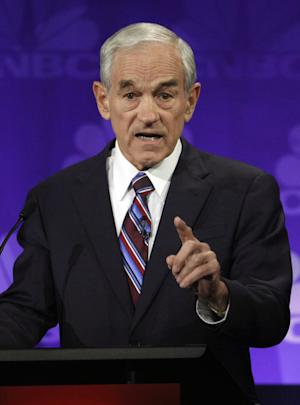 Republican presidential candidate Rep. Ron Paul, R-Texas, speaks during a Republican Presidential Debate at Oakland University in Auburn Hills, Mich., Wednesday, Nov. 9, 2011.  (AP Photo/Paul Sancya)