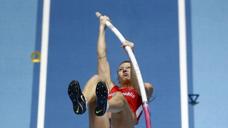 Svobodova of Czech Republic competes in the women's pole vault final at the world indoor athletics championships at the ERGO Arena in Sopot