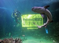 File photo shows a Greenpeace activist holding a banner at the Sydney Aquarium urging UNESCO to save the Great Barrier Reef in March. A coal basin near the Great Barrier Reef will rank among the world's worst producers of carbon pollution if fully mined, Greenpeace said Wednesday