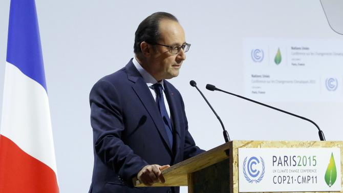 French President Hollande delivers a speech for the opening day of the World Climate Change Conference 2015 (COP21) at Le Bourget, near Paris