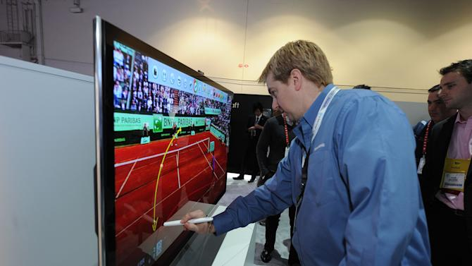 "Demonstration of Panasonic's new ""Touch Pen"" technology at The 2013 International CES, on Tuesday, January 8, 2013, Las Vegas, NV displayed in the Panasonic Booth (Photo by Al Powers/Invision for Panasonic/AP Images)"