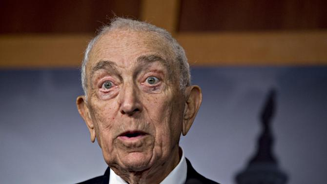 FILE - In this Jan. 28, 2013, file photo, Sen. Frank Lautenberg, D-N.J., speaks to reporters after the Senate passed a $50.5 billion emergency relief measure for Superstorm Sandy victims at the Capitol in Washington. Lautenberg announced on Thursday, Feb. 14, 2013, he will not seek re-election. (AP Photo/J. Scott Applewhite, File)