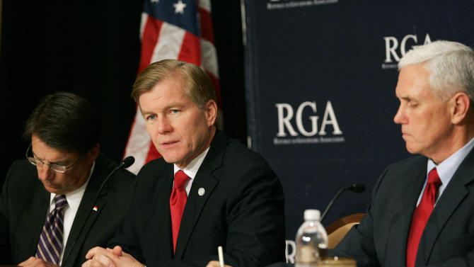 Republican Governors Association Chairman and Virginia Gov. Bob McDonnell, center, leads a news conference at the 2012 RGA Annual Conference at Encore hotel-casino Thursday, Nov. 15, 2012, in Las Vegas. North Carolina Governor-Elect Pat McCrory, left, and Indiana Governor-Elect Mike Pence sit nearby. (AP Photo/Ronda Churchill)