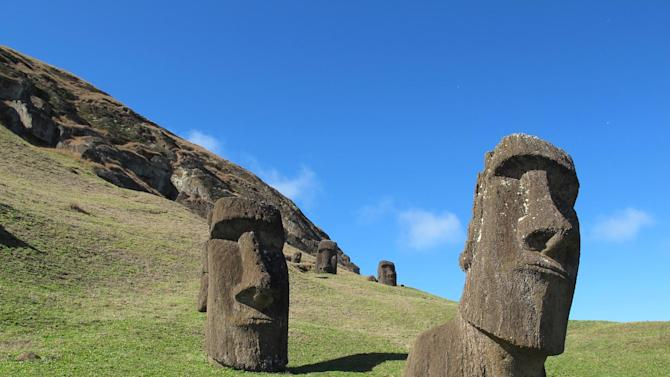 This August 2012 photo shows heads at Rano Raraku, the quarry on Easter Island. The sculptures have bodies attached, but they are buried under the dirt and not visible. About 400 moai are here in various stages of carving. (AP Photo/Karen Schwartz)