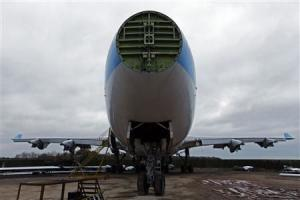 A Boeing 747 set to be dismantled is seen in the recycling yard of Air Salvage International (ASI) in Kemble