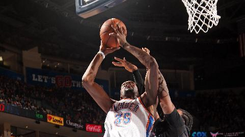 Durant leads Thunder past Love-less 'Wolves 106-97