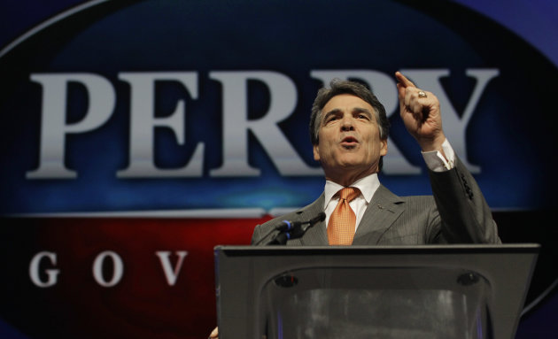 "FILE - In this June 7, 2012 photo, Texas Gov. Rick Perry speaks during the Texas Republican Convention in Fort Worth, Texas.  For Perry, saying ""no"" to the federal health care law could also mean turn"