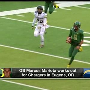 Oregon quarterback Marcus Mariota works out for the San Diego Chargers