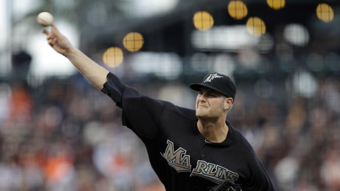 Florida Marlins pitcher Chris Volstad throws to the San Francisco Giants during the first inning of a baseball game in San Francisco, Wednesday, May 25, 2011. (AP Photo/Marcio Jose Sanchez)