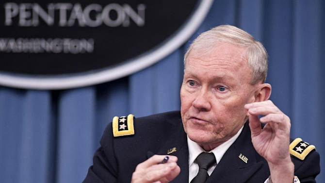 FILE - In this Jan. 24, 2013 file photo, Joint Chiefs Chairman Gen. Martin Dempsey takes part in news conference at the Pentagon in Washington. Dempsey traveled to Afghanistan Saturday, April 6, 2013 to meet U.S. and allied commanders and consult with Afghan officials on winding down the war. (AP Photo/Cliff Owen, File)