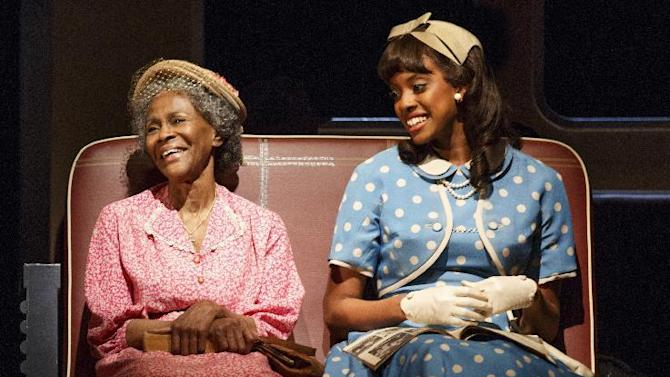 "This theater publicity image released by The Hartman Group shows Cicely Tyson, left, and Condola Rashad, during a performance of ""The Trip to Bountiful"" at the Stephen Sondheim Theatre in New York. (AP Photo/The Hartman Group, Joan Marcus)"