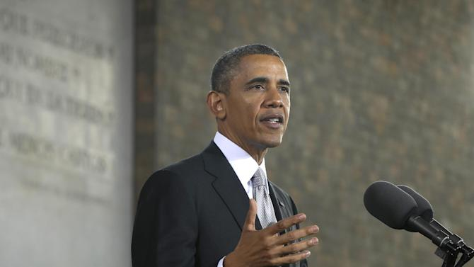 US President Barack Obama gestures as he speaks at the Anthropology Museum in Mexico City, Friday, May 3, 2013. (AP Photo/Pablo Martinez Monsivais)