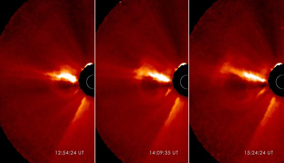 This triptych shows a coronal mass ejection or CME as it burst off of the sun in the morning of Jan. 13, 2013. The images were captured by NASA's Solar Terrestrial Relations Observatory (STEREO).