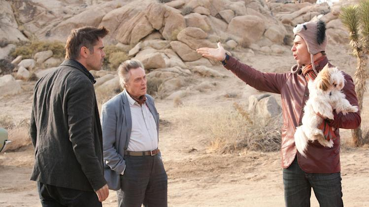 "This film image released by CBS Films shows Colin Farrell, left, Christopher Walken, center, and Sam Rockwell in a scene from ""Seven Psychopaths."" (AP Photo/CBS Films, Chuck Zlotnick)"