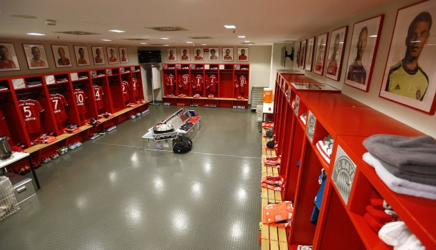 The dressing room of Bayern Munich is photographed prior to their German first division Bundesliga soccer match against Augsburg in Munich