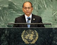 "Myanmar's President Thein Sein makes an unprecedented public tribute at the United Nations to opposition icon Aung San Suu Kyi's ""efforts for democracy."""