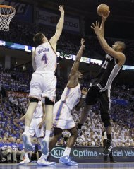 San Antonio Spurs center Tim Duncan (21) shoots over Oklahoma City Thunder&#39;s Kendrick Perkins (5) and Nick Collison (4) during the first half of Game 4 in the NBA basketball playoffs Western Conference finals, Saturday, June 2, 2012, in Oklahoma City. (AP Photo/Eric Gay)