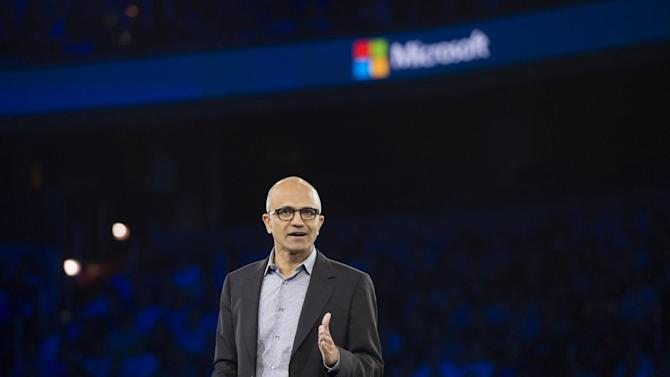 Microsoft CEO Satya Nadella speaks during his keynote address at the Microsoft Worldwide Partner Conference 2014 in Washington on July 16, 2014