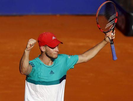 Austria's Thiem celebrates after defeating Spain's Nadal in their semi-final tennis match at the ATP Argentina Open in Buenos Aires