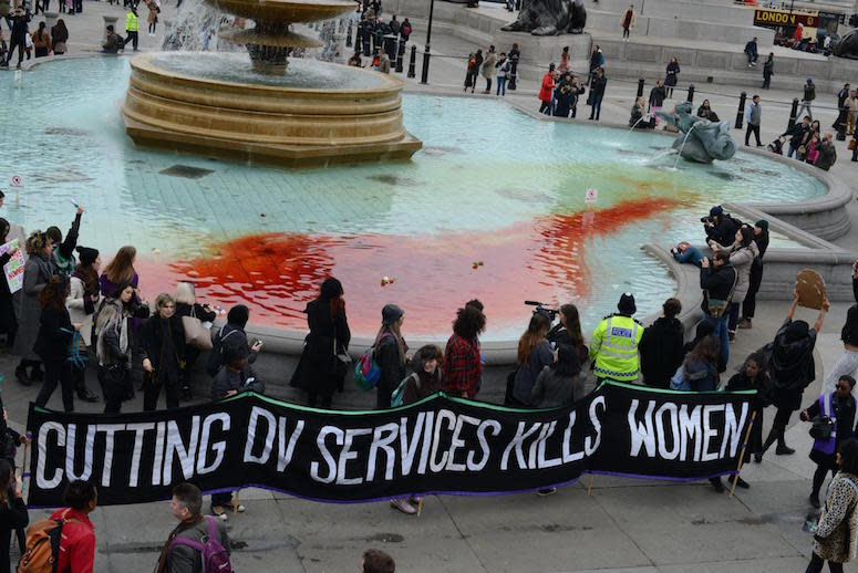 Activists Dye Iconic Fountains Red to Protest Cuts to Domestic Violence Services