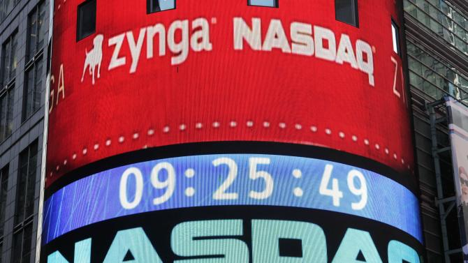 The corporate logo for Zynga is shown on an electronic billboard at the Nasdaq MarketSite, Friday, Dec. 16,  2011 in New York. Stock in the San Francisco company began trading at Nasdaq, Friday following its IPO. (AP Photo/Mark Lennihan)