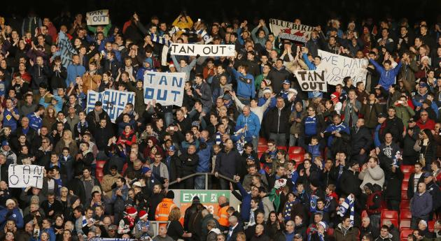 Cardiff City's fans show their support for manager Mackay after their English Premier League soccer match against Liverpool at Anfield in Liverpool