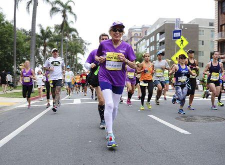 Handout photo of Harriette Thompson running in the Rock 'n' Roll Marathon in San Diego