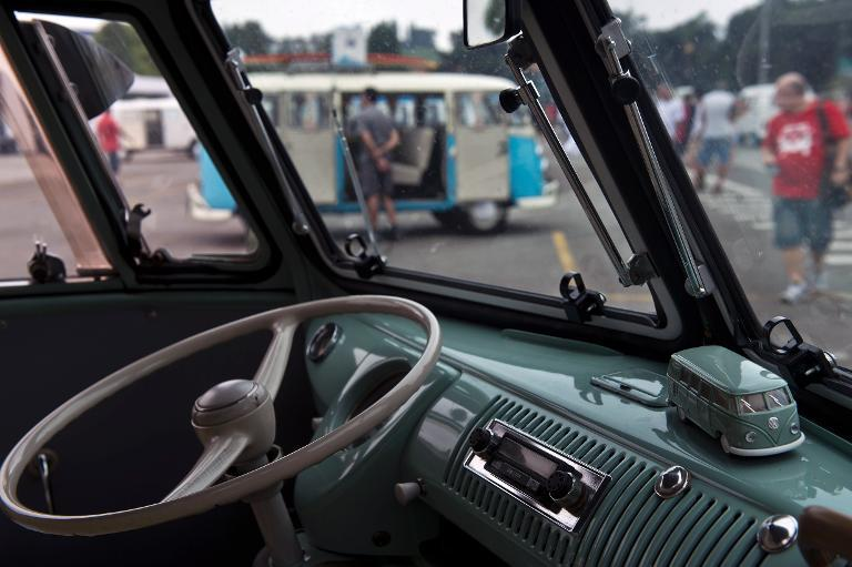 View from inside a Kombi, exhibited at the Volkswagen plant in Sao Bernardo do Campo, southern Sao Paulo, Brazil on December 8, 2013
