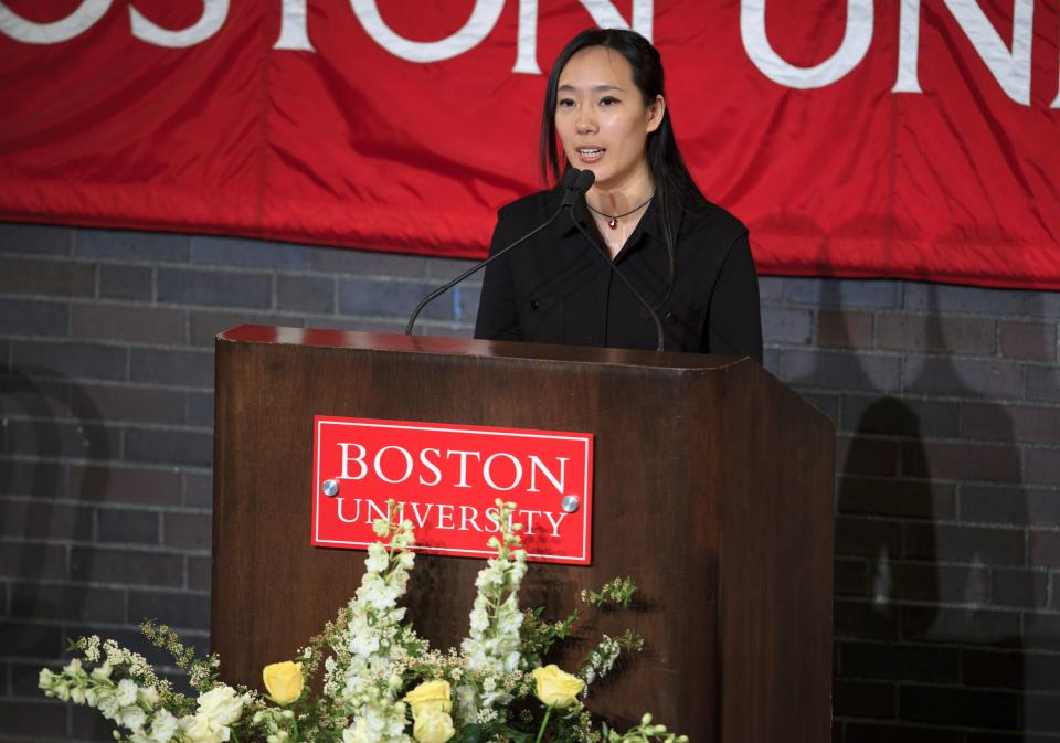 Jing Li Lu Lingzi's roommate, speaks of Lingzi during her memorial service at Metcalf Hall in Boston University's George Sherman Student Union on Monday evening, April 22, 2013. Lingzi was killed in the Boston Marathon bombings. (AP Photo/The Boston Globe, Dina Rudick, Pool)