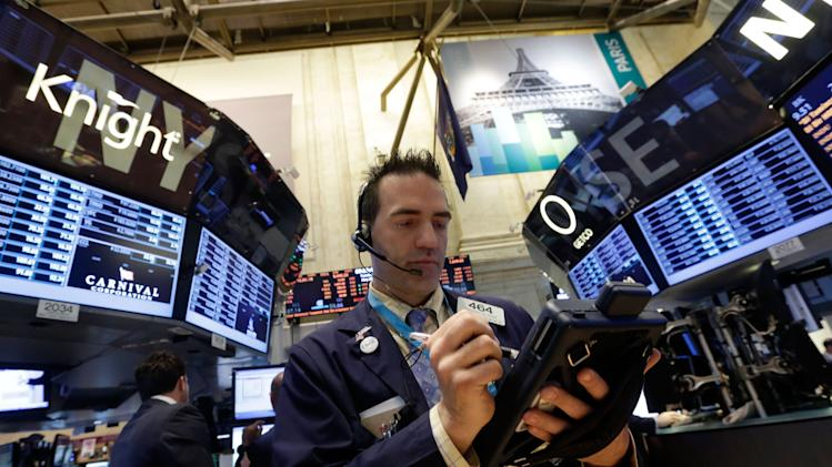 Stocks fall; Dow average pulls back from a record