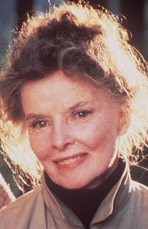 FILE - This 1981 file photo shows actress Katharine Hepburn. Hepburn's former home on Connecticut's Long Island Sound is up for sale. Owners have updated the house by combing rooms to create larger and more open spaces. The house had 21 rooms and nine bathrooms but has been reduced to 15 rooms and 7 1/2 bathrooms. The estate is now on the market for $28 million. The house, on the largest of three lots, can be purchased separately for $18 million. (AP Photo, File)