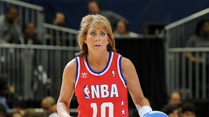 Basketball hall of famer Nancy Lieberman plays on the court during the NBA All-Star celebrity game presented by Final Fantasy XIII held at the Dallas Convention Center on February 12, 2010 in Dallas, Texas