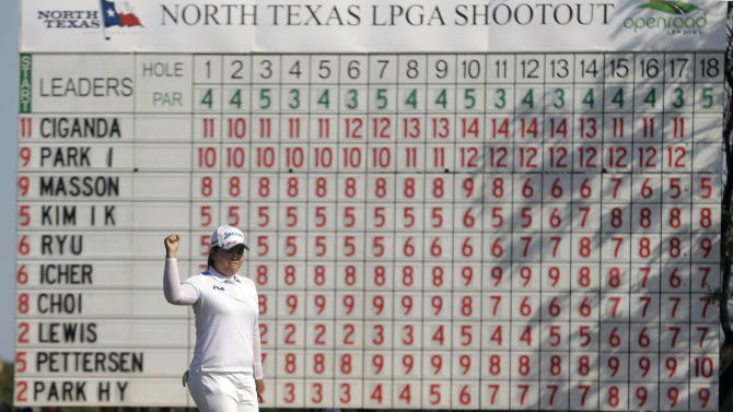 Inbee Park, of South Korea, reacts to sinking a putt on the 18th hole to win the North Texas LPGA Shootout golf tournament on Sunday, April 28, 2013, at Los Colinas Country Club in Irving, Texas. (AP Photo/LM Otero)