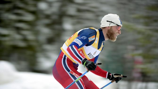 Martin Johnsrud Sundby of Norway leads the men's classic style Cross Country 15km pursuit at the FIS World Cup Ruka Nordic 2015 event in Kuusamo