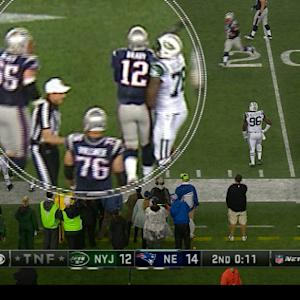 Brady gets pushed out of bounds