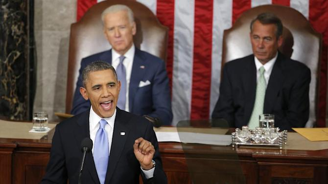 Vice President Joe Biden and House Speaker John Boehner of Ohio listen as President Barack Obama gives his State of the Union address on Capitol Hill in Washington, Tuesday Jan. 28, 2014. (AP Photo/Charles Dharapak)