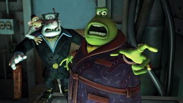 Spike (voiced by Andy Serkis ), Whitey (voiced by Bill Nighy ), and Toad (voiced by Ian McKellen ) in DreamWorks Animation's Flushed Away