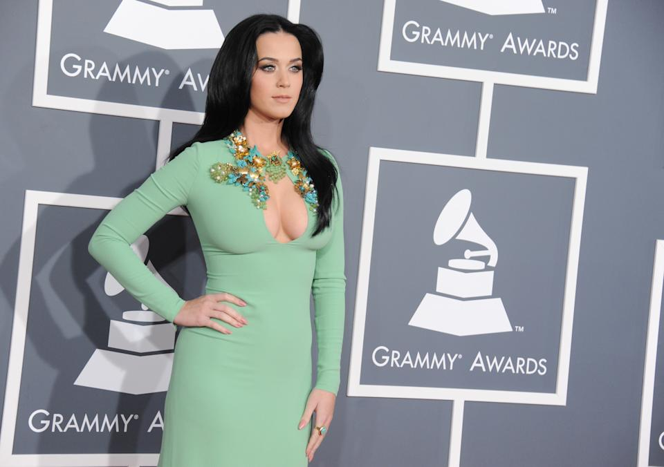 Katy Perry arrives at the 55th annual Grammy Awards on Sunday, Feb. 10, 2013, in Los Angeles.  (Photo by Jordan Strauss/Invision/AP)