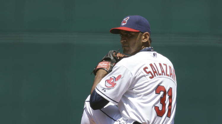Cleveland Indians starting pitcher Danny Salazar pitches in the fifth inning of a baseball game against the Toronto Blue Jays, Thursday, July 11, 2013, in Cleveland. Salazar pitched six innings and gave up two hits and one run. The Indians won 4-2. (AP Photo/Tony Dejak)