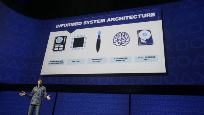 Mark Cerny, lead system architect for the Sony Playstation 4 speaks during an event to announce the new video game console Wednesday, Feb. 20, 2013, in New York. (AP Photo/Frank Franklin II)