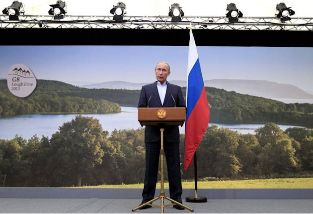 Vladimir Putin speaks during a press conference in Northern Ireland on June 18, 2013