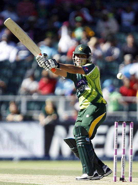 Pakistan's Akmal Kamran plays a shot during their third One Day International (ODI) cricket match against South Africa in Johannesburg