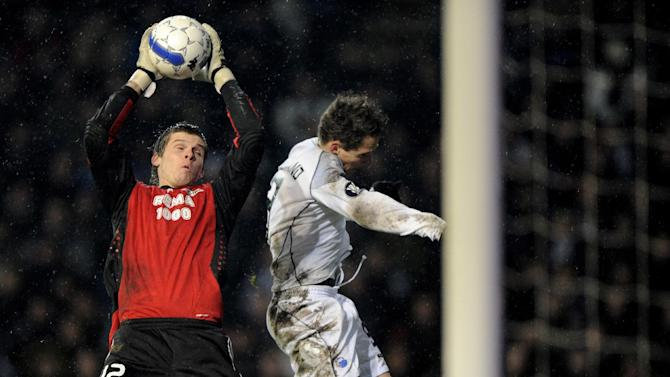 In this Dec. 4, 2008 file picture Rosenborgs goalkeeper Rune Jarstein, left, catches the ball in front of FC Copenhagens Morten Nordstrand, during the UEFA Cup group G soccer match between FC Copenhagen and Rosenborg in Copenhagen, Denmark,  Hertha Berlin has signed Norway goalkeeper Rune Almenning Jarstein of Viking Stavanger. The German Bundesliga club says Jarstein will join the club on Jan. 1 in a free transfer and will receive a contract lasting through mid-2016. Hertha's current regular goalkeeper is Thomas Kraft, a former Bayern Munich player. His understudies have little or no Bundesliga experience