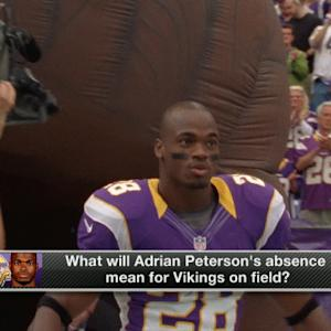 How does running back Adrian Peterson's absence affect the Minnesota Vikings on the field?