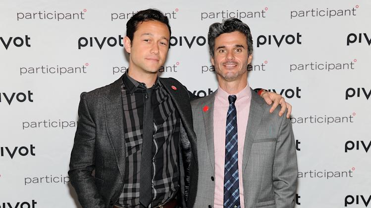 Pivot network president Evan Shapiro, right, poses with actor Joseph Gordon-Levitt at Participant Media's Pivot cable network launch event at the Museum of Arts & Design on Wednesday March 27, 2013 in New York. (Photo by Evan Agostini/Invision/AP)