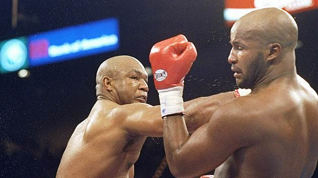 "3. George Foreman KO10 Michael Moorer, Nov. 5, 1994 – Foreman was 45 years old and trying to regain the heavyweight title. He was being badly outboxed by Moorer throughout the first nine rounds, when his legendary punching power came to the rescue. Foreman threw a jab and a straight right behind it, crumpling Moorer, as HBO broadcaster Jim Lampley shouted, ""It happened! It happened!"" Foreman became, at 45, the sport's oldest heavyweight champion. (Photo credit: Getty)"