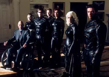 Patrick Stewart as Professor Xavier, Anna Paquin as Rogue, James Marsden as Cyclops, Shawn Ashmore as Iceman, Famke Janssen as Jean Grey, Halle Berry as Storm and Hugh Jackman as Wolverine in 20th Century Fox's X2: X-Men United