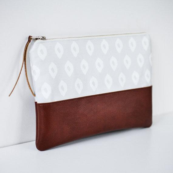 Ikat Pouch in Grey and Brown, $28